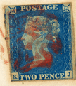 GB stamp, 1840, Queen Victoria SG5 - DS5 2d blue, plate 1, used